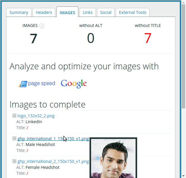 Images tab with preview - SEO Meta Data Extension