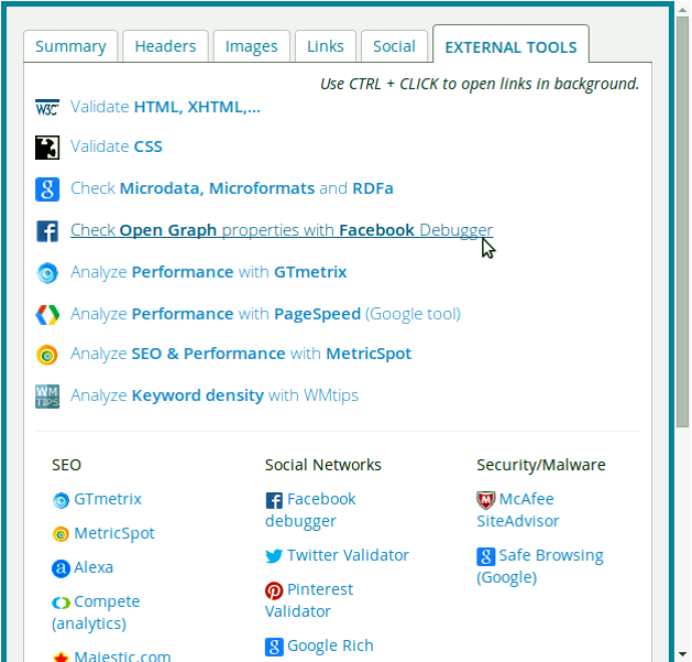 More tools (Google Riche Snippets, Facebook Debugger, Magestic, ...)