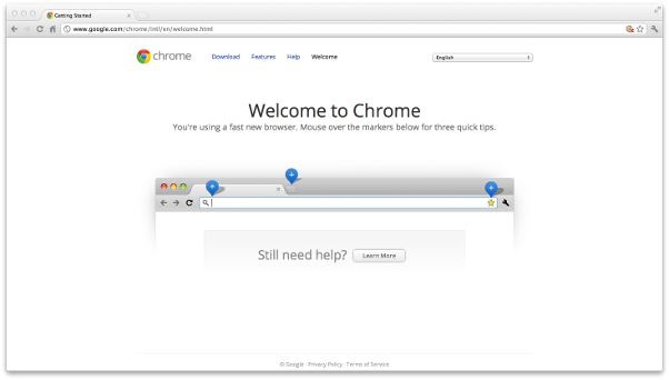Chrome browser - welcome page