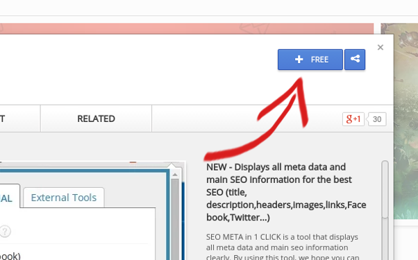 Install SEO META extension via Chrome web store